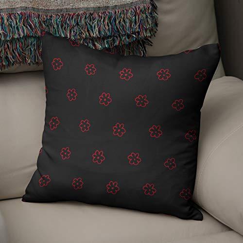 BonaMaison Fundas para Cojínes, Negro Rojo Funda de Almohada Elegante y Suave para Decorativa Moderna Decoración del Hogar Habitación, 50x50 Cm - Diseñado y Fabricado en Turquía