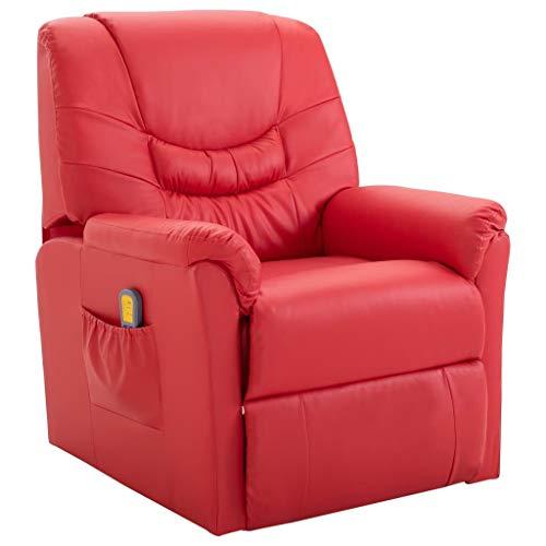 vidaXL Massagesessel mit Massage Heizfunktion Elektrisch Fernsehsessel Relaxsessel TV Sessel Relaxliege Ruhesessel Liegesessel Rot Kunstleder