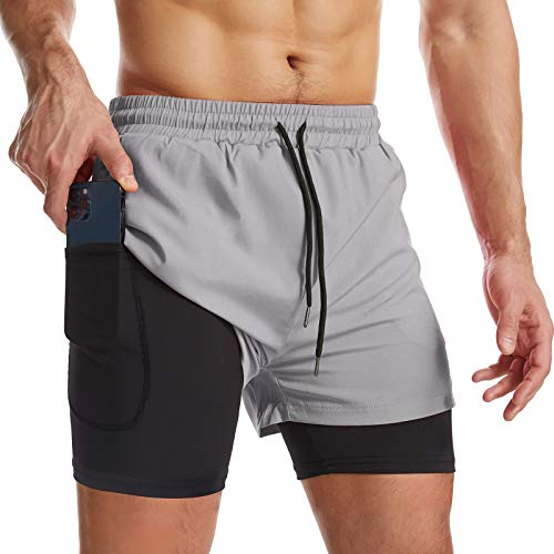 Surenow Mens 2 in 1 Running Shorts Quick Dry Athletic Shorts with Liner, Workout Shorts with Zip Pockets and Towel Loop Light Grey