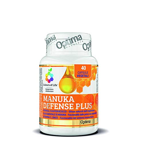 Colours of Life - Manuka Defense Plus - Integratore con Miele e Olio essenziale di Manuka - per la Funzionalità delle Prime Vie Respiratorie, Effetto Balsamico - Vegetariano, 40 Capsule Vegetali