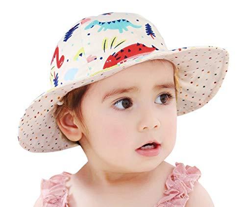 GEMVIE Chapeau Bob Enfant Bébé Fille Garçon Anti-UV Chapeau de Soleil en Coton Pliable Réversible Imprimé Animaux Fleurs pour Plage Été Voyage,Beige,Tour de tête:54cm