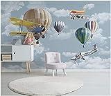 Papel Pintado Habitación de niños de globo de avión de dibujos animados dibujados mano Papel pintado tejido no tejido Dormitorio Despacho Decoración murales decoración de paredes moderna 300 x 210 cm