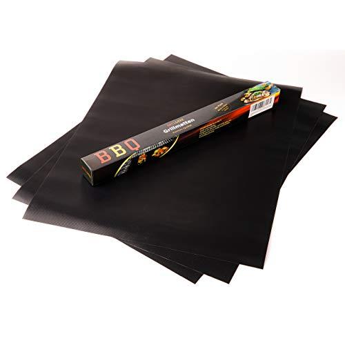Grilluxe® Grillmatte | Extra Groß | 50cm x 40cm [3er Pack 50x40] | 0.3mm dick | BBQ Grillmatten | Antihafte Grill- und Backmatte | Für Gasgrill Holzkohlegrill Elektrogrill | Wiederverwendbar