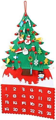 Amosfun 1 Set DIY Vilt Kerstboom Adventskalender 24 Dagen Countdown Kalender Kerstboom Ornamenten voor Thuis Deur Muur Opknoping Decor Verbonden Kleur