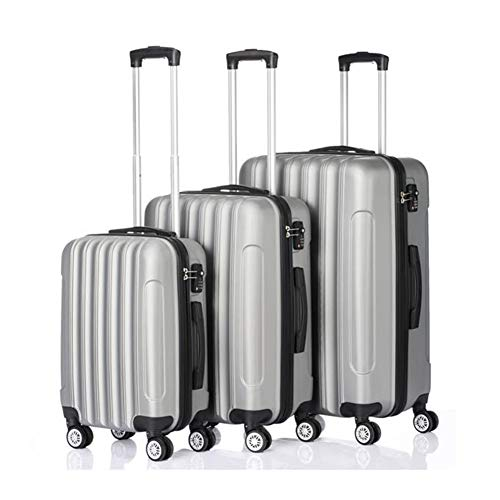 Sets Traveling Storage Suitcase Hardshell Luggage Lightweight Durable with TSA Lock and 4 Spinner Wheels (Silver Gray, 3-Piece