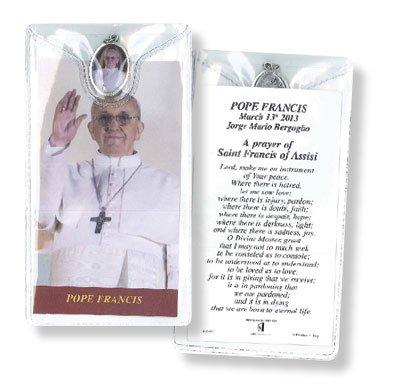 Tarjeta de verso de oración 120 mm x 65 mm plástico cartera y medalla Papa Francisco Assii