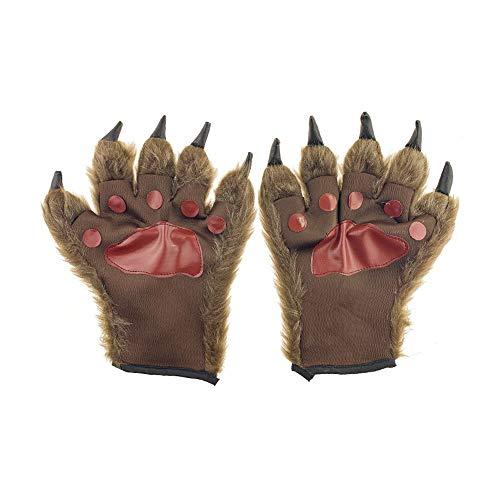 Wovatech Traje de Hombre Lobo Guantes de Garras de Lobo - Traje de Garra de Lobo Peludo de Medio Dedo para Halloween, Fiesta de Disfraces de Cosplay 2 Piezas