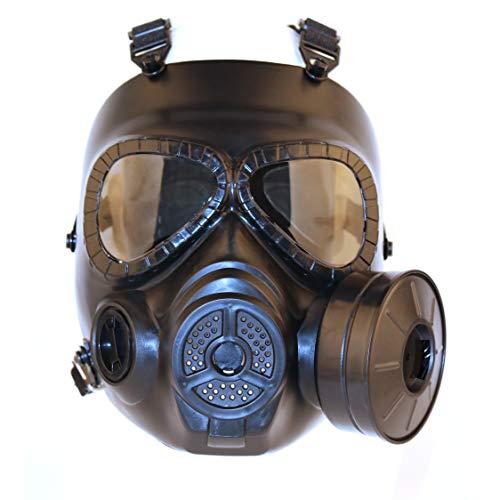 haoYK, finta maschera antigas, con ventilatore turbo, maschera di protezione per airsoft e paintball, Nero