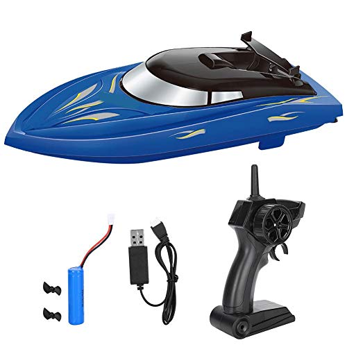T best RC Boat, ABS Waterproof 2.4GHZ Frequency Remote Control Boat Self-Tightening High Speed RC Ship Speedboat for Kids Children Gift Toy (Blue)