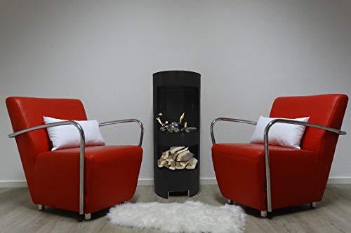 Ethanol und Gelkamin Gel Kamin Modell Hightower Schwarz 100cm mit Holzfach inklusive 3 Brennstoffdosen