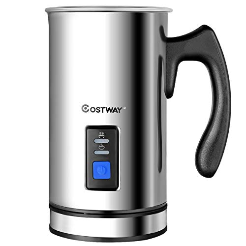 COSTWAY Milk Frother, Electric Automatic Stainless Steel,Non-Stick Interior, Milk Steamer Foamer for Coffee, Latte, Cappuccino with Handheld (Stainless-Update)