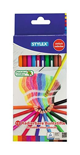 Stylex 25090 - Radierbare Buntstifte, 12 Stück Stifte in Sechskantform, mit integriertem Radierer und Namensfeld, holzfrei, lackiert