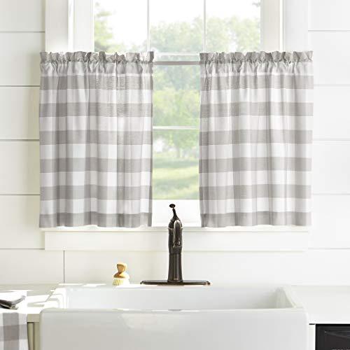 "Elrene Home Fashions Farmhouse Living Buffalo Check Window Kitchen Tier Set, 30"" x 24""(Set of 2, Gray/White, 2 Count"