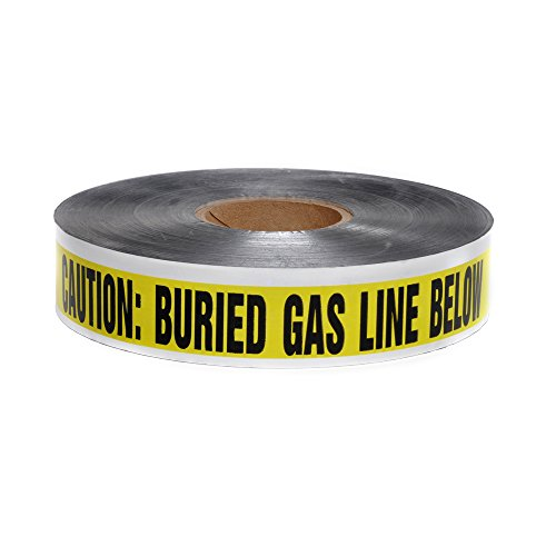 Swanson Tool Co DETY21005 2 inch x 1000 Foot 5 Mil DETECTABLE Safety Tape'Caution Buried Gas Line Below' Yellow/Black Print