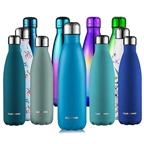 cmxing Doppelwandige Thermosflasche 500 mL / 750 mL mit Tasche BPA-Frei Edelstahl Trinkflasche Vakuum Isolierflasche (Gummi blau, 750 mL)