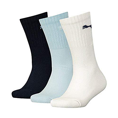 PUMA Junior 3p Sport, Bianco (D.Blue/L.Blue/White 823), Unica (Taglia Produttore: 27/30) (Pacco da 3) Bambino