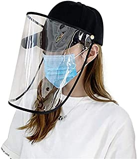 davidau Anti-Fog and Anti- Saliva Splash Transparent Face Mask Protective Film Baseball Cap Black
