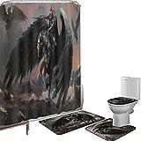 Juego de cortinas baño Accesorios baño alfombras Mundo de fantasía Alfombrilla baño Alfombra contorno Cubierta del inodoro Pegasus King,líder en la historia de la oscuridad,imaginario,obra de arte de