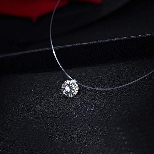 LDRENF Transparente LíNea De Pesca Femenina Collar Plata CorazóN Invisible Cadena Cristal Rhinestone Gargantilla Collar Colgante En El Cuello De LíNea