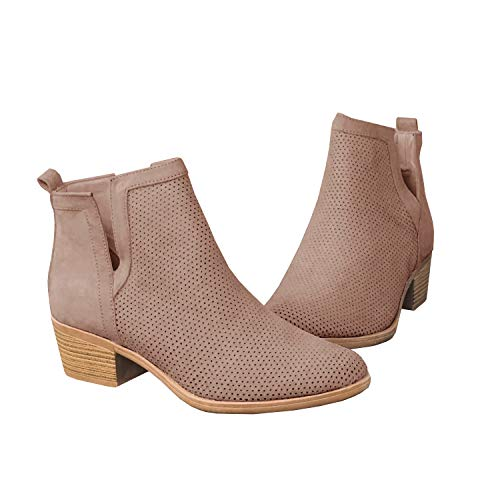 Erneut Damen Kurzschaft Stiefeletten Cut Out Westernabsatz Ankel Boots Wildleder Slip On Perforierte Cowboy Herbst Stiefel