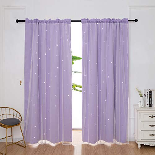 Star Curtains Stars Blackout Curtains for Kids Girls Bedroom Living Room Double Layer Star Cut Out Solid Window Curtains Rod Pocket Treatment Drapes Panels Set 54x84'' 2pc ( 108x84 ) (Lilac)