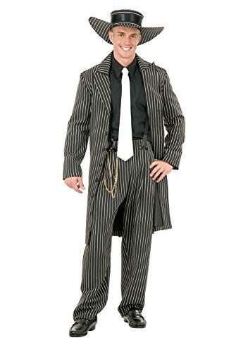 Charades Men's Zoot Suit with Chain, Black/White, Large
