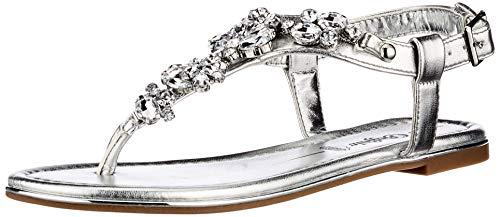 Buffalo Rhonda, Sandale Plate Femme, Argent (Silver), 36 EU