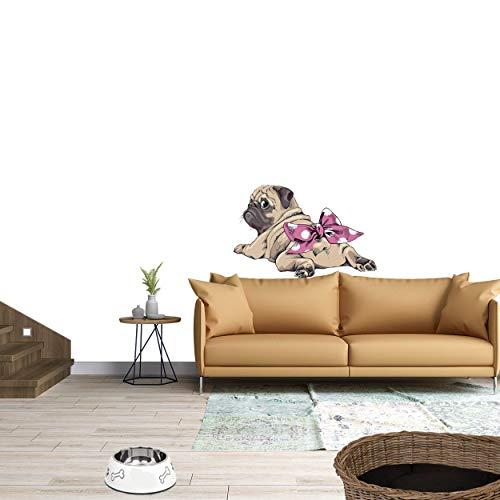 Sunnywall Wandtattoo Aufkleber Mops liegend Mädchen mit Schleife Hund