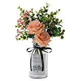 Crelife Artificial Flowers with Vase, Silk Rose Bouquet with Eucalyptus Leaves and Berries, Ins Style Flower Arrangements in Glass Vase for Wedding Desk Home Décor (Pink Dream)