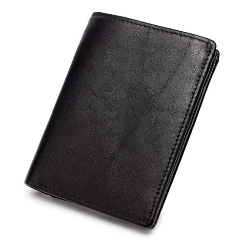 Eono Essentials Men's Leather RFID Blocking Wallet - Coins Pocket and ID Credit Card Holder with Interior Zip Safe Pocket, Holds Up to 14 Cards (Black)
