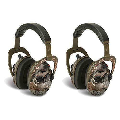 Walkers Alpha Muffs 360 Hunting 9X Hearing Enhancement Earmuffs, Camo (2 Pack)