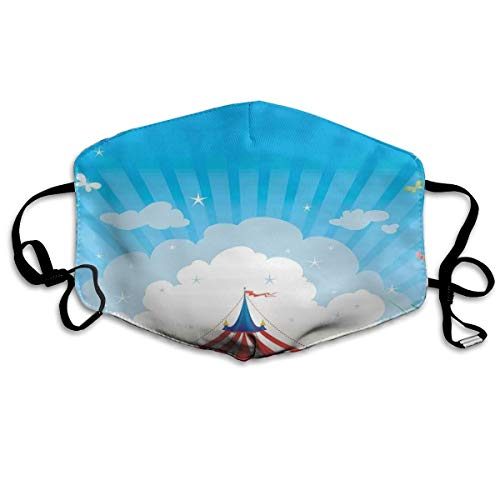 Traveling tent met Clouds Butterflies en Clear Sky Festival Happiness Printing Mouth Cover voor volwassenen.