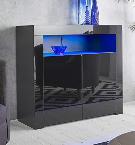 Modern All Black Sideboard Matt Gloss Buffet Display Cabinet with LED Lights