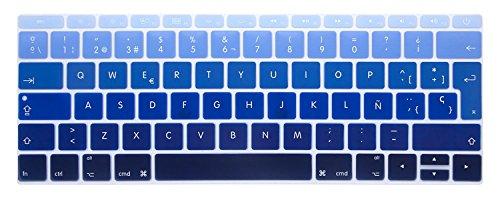 GSuMio Silicona Skin Española Cubierta del Teclado para MacBook Pro 13 Pulgadas A1708 (sin Barra táctil), lanzado en 2016 y MacBook Pro 12 Pulgadas A1534, lanzado en 2015 (Azul de la Pendiente)