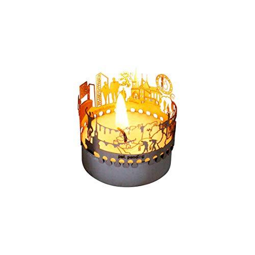 13gramm Luxemburg-Skyline Windlicht Schattenspiel Souvenir, 3D Edelstahl Aufsatz für Kerze inkl. Karte