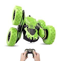 Idea Regalo - Macchina Telecomandata, 4WD RC Auto Telecomando 360° Rotazione Acrobatica RC Stunt Car, 1:28 / 2.4GHZ Macchina Radiocomandata per Bambini Giocattoli - Verde (Batteria Non Inclusa)