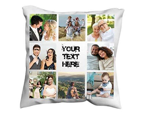 Amo Distro Funda de cojín personalizada con foto impresa collage | Funda de cojín personalizada con cualquier texto y foto | Funda de cojín para sala de estar, dormitorio y hotel