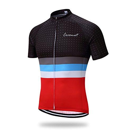 Coconut Men's Cycling Jersey Short Sleeve Road Bike Biking Shirt Bicycle Clothes (Red/Black, M)