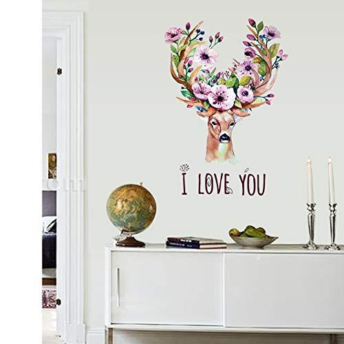 FSVGC Kreative Wandaufkleber Geweih Blumen Wohnheim Aufkleber Wohnaccessoires Wohnzimmer Eingangslayout Abnehmbare Hochzeitszimmer Aufkleber