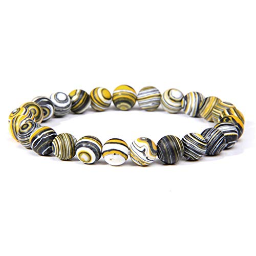 ACEACE 4 Styles Natural Malachite Stone Beads Bracelet 8mm Elastic Rope Beaded Bracelet Chakra Jewelry Gifts (Length : 23CM, Metal Color : Type 3)