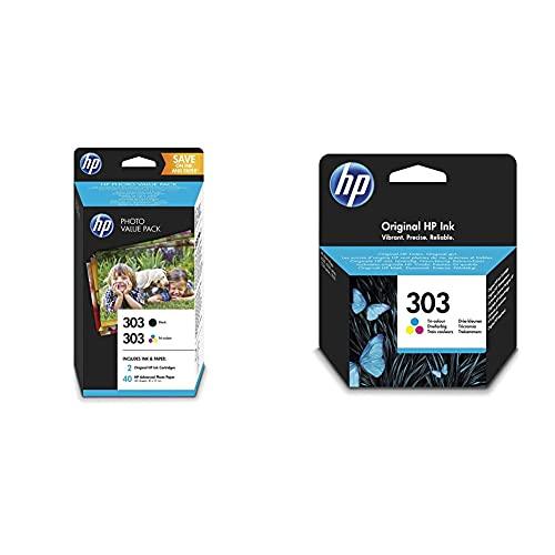 HP 303 Photo Value Pack mit 2 Druckerpatronen (Schwarz, Farbe) und 40 Blatt HP Photo Papier (10 x 15 cm) für HP ENVY Photo 6230, 7130, 7830 & 303 Farbe Original Druckerpatrone für HP ENVY Photo