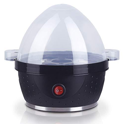 MovilCom® - Cocedor de Huevos eléctrico | Hervidor cuece Huevos eléctrico con Capacidad para 1-7 Huevos | Moderno | 350W | sin BPA | Negro