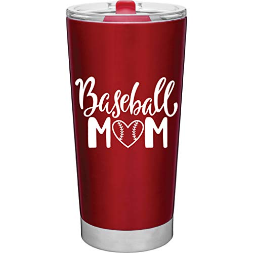 MugHeads Baseball-Becher für Mütter, 590 ml, vakuumisoliert, mit Deckel, Rot