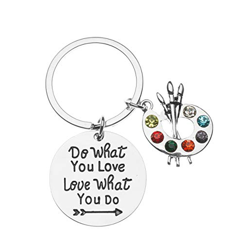 Sportybella Artist Paint Palette and Brush Charm Pendant Keychain, Do What You Love Painters Jewelry Gift for Women, Teens & Girls