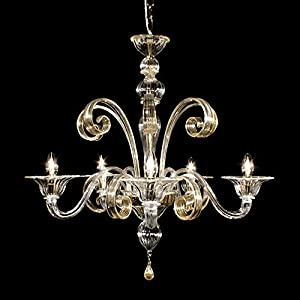 Lámpara de Murano Rialto - 8 luces - Fabricada en cristal transparente con acabado rayado recto, las decoraciones son de cristal y oro de 24 quilates, partes metálicas doradas de 24 quilates.