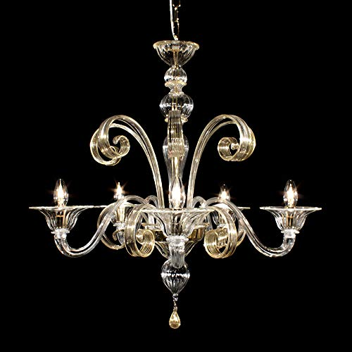 Lampadario Murano RIALTO - 5 luci - realizzato in vetro cristallo trasparente con lavorazione rigadin dritto, le decorazioni sono in cristallo e oro 24k , parti metalliche dorate.