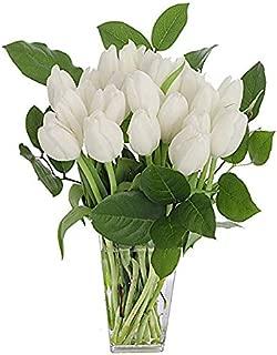 Stargazer Barn - Serenity Bouquet - 2 Dozen White Tulips With Clear Vase - Farm Fresh