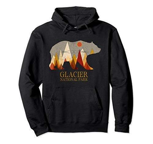 Glacier National Park Montana Grizzly Bear Pullover Hoodie