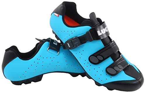 LUCK Zapatillas de Ciclismo MTB ODÍN con Suela de Carbono y Cierre milimétrico de precisión. (44 EU, Azul)
