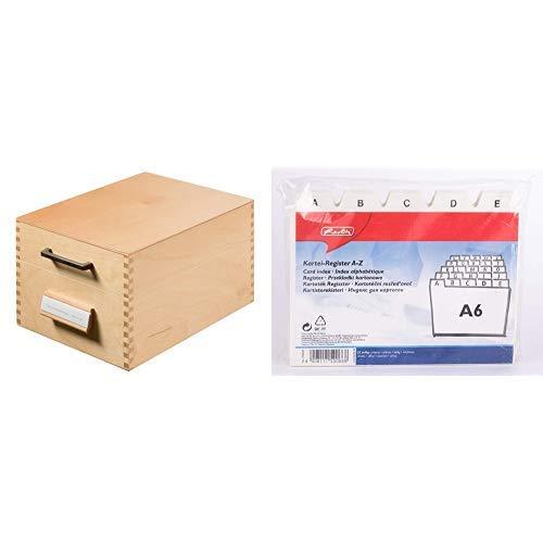 HAN Karteikasten 506, DIN A6 quer aus Holz / Hochwertige Lernkarteibox aus edlem & robustem Naturholz & als Lehrmaterial & Herlitz 1500669 Karteiregister A6 Kunststoff PP 25-teilig A-Z weiß